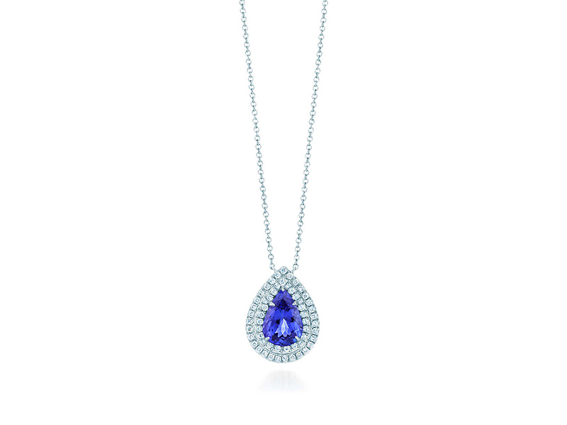 Tiffany & Co Tiffany Soleste pendant in platinum with a pear-shaped tanzanite and a double row of round brilliant diamonds