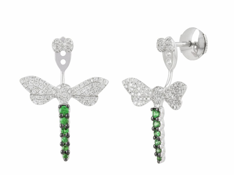 Yvonne Leon Libellule earrings mounted on white gold with white diamonds and tsavorites