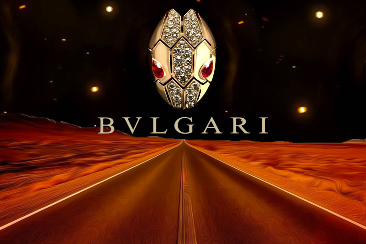 Bvlgari logo with a Serpenti piece in a road