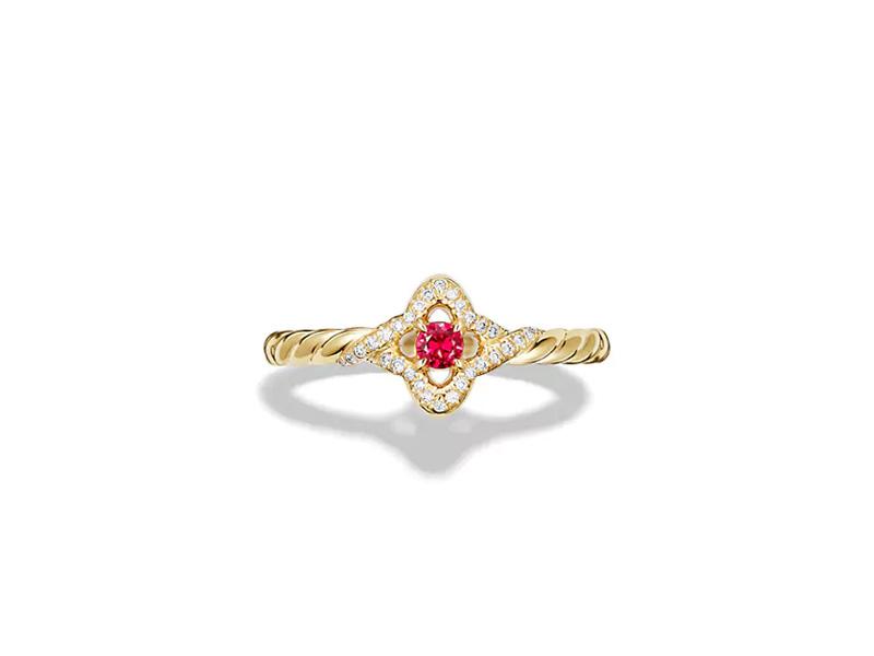 David Yurman Venetian Quatrefoil ring with ruby and diamonds in 18K gold