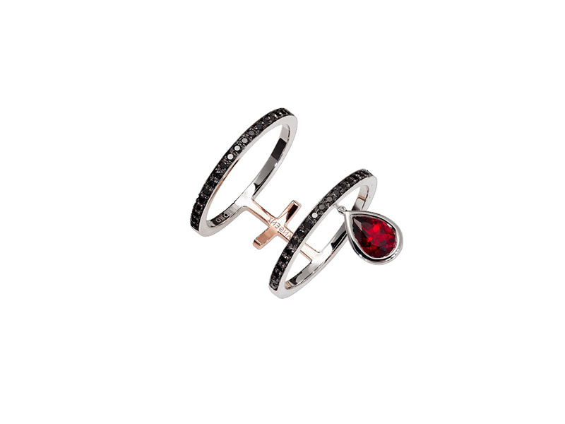 Dionea Orcini Linee Misteriose Black Diamond Double Ring mounted on white gold with black diamonds and red garnet