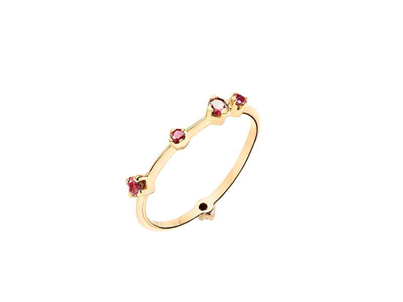 Rivka Nahmias Red ruby boheme ring mounted on yellow gold with 5 rubies