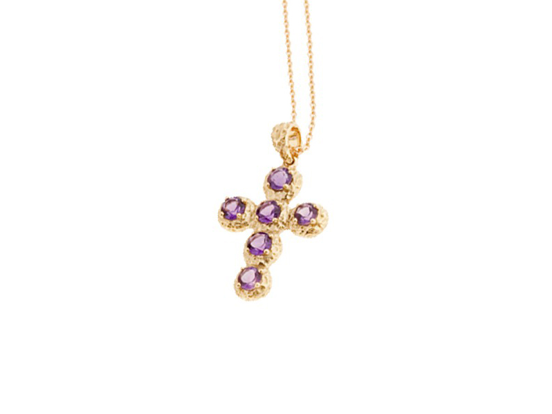 Aude Lechere From Noémie collection - Necklace mounted on yellow gold with amethyst
