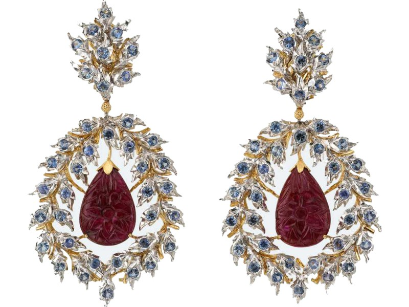 Buccellati Teodolinda pendant earrings mounted on white and yellow gold with rubies and sapphires