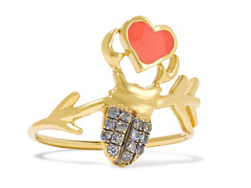Daniela Villegas Khepri Love phalanx ring mounted on yellow gold wtih sapphires and enamel