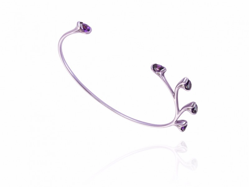 Fernando Jorge From Bloom collection -Sprouting bracelet mounted on lilac coated18k gold with amethysts and diamonds