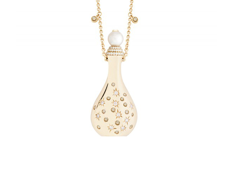 John Rubel Amelia necklace mounted on rose gold with Akoya pearl, white and brown diamonds is available at the Pop Up