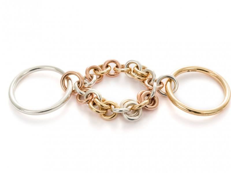 Spinelli Kilcollin From Catena collection - Indus MX ring mounted on yellow gold, rose gold and silver