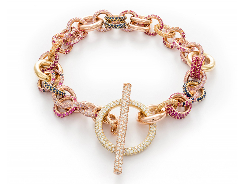 Spinelli Kilcollin Atlantis Royal bracelet mounted on gold with pavé-set sapphire and ruby chain links with white diamonds toggle