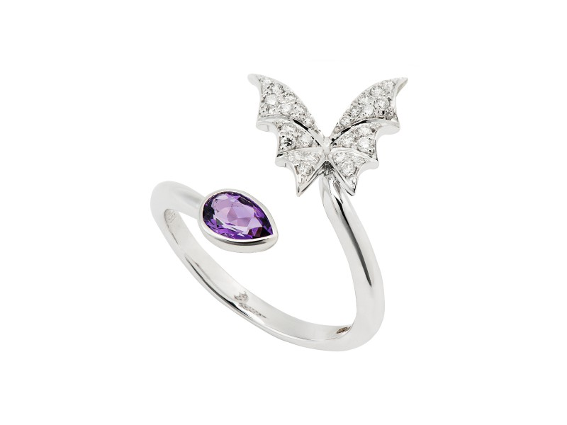 Stephen Webster Fly By Night collection - Stacking ring mounted on white gold with amethyst and white diamonds