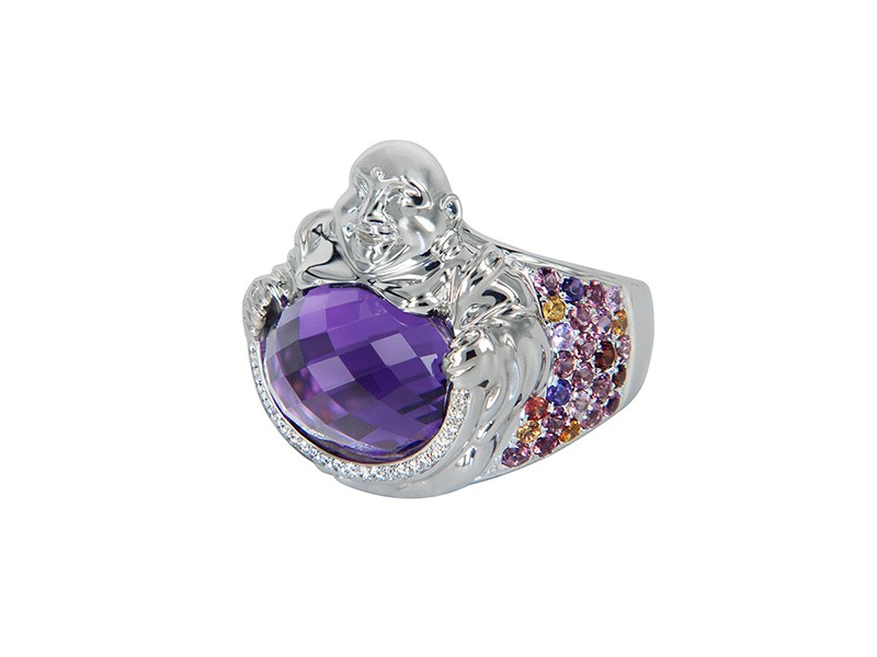 Vanessa Martinelli Buddha Love ring mounted on gold with multicoloured sapphires and amethyst