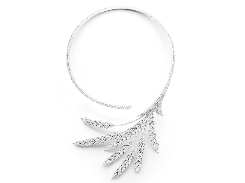 Boucheron From 26 Vendôme collection - Blé d'été necklace, paved with diamonds, on white gold