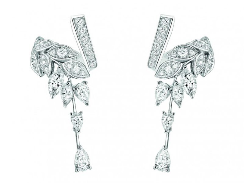 Chanel Brins de Diamants earrings mounted on white gold set with 17 fancy-cut diamonds and 86 brilliant-cut diamonds