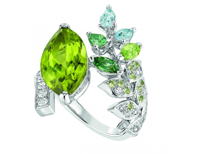 Chanel Brins de Printemps ring mounted on white gold set with a 5.7-carat marquise-cut peridot, 59 brilliant-cut diamonds, 2 pear-cut aquamarines, 2 fancy-cut green tourmalines, 10 brilliant-cut peridots and a marquise-cut peridot