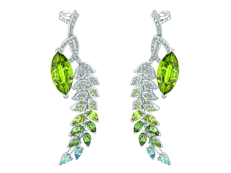 "Chanel ""Brins de Printemps earrings mounted on white gold set with 2 marquise-cut peridots, 4 marquise-cut peridots, 20 brilliant-cut peridots, 6 marquise-cut green tourmalines, 4 pear-cut aquamarines and 146 brilliant-cut diamonds"