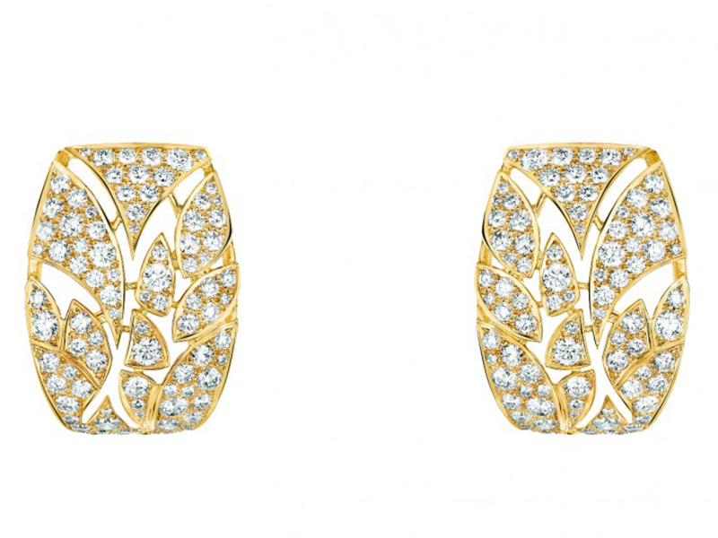 Chanel Champ de Blé earrings mounted on yellow gold set with 176 brilliant-cut diamonds for a total weight of 3.1 carats