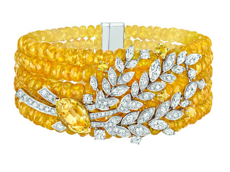 Chanel Moisson d'Or bracelet mounted on white and yellow gold set with a 5.1-carat marquise-cut yellow sapphire, 14 marquise-cut diamonds, 115 brilliant-cut diamonds, 4 brilliant-cut yellow sapphires and 283 yellow sapphire beads