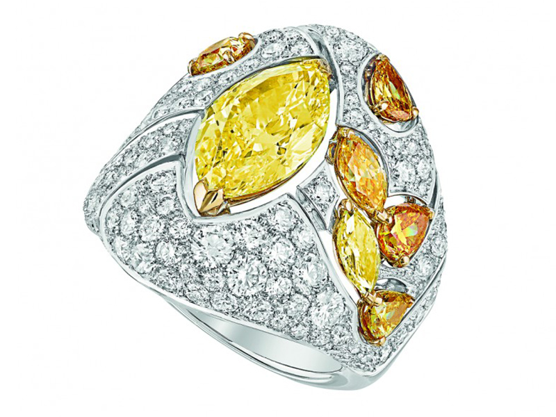 Chanel Impression de Blé ring mounted on white and yellow gold set with a marquise-cut fancy intense yellow diamond, 6 fancy-cut multicolored diamonds and 156 brilliant-cut diamonds