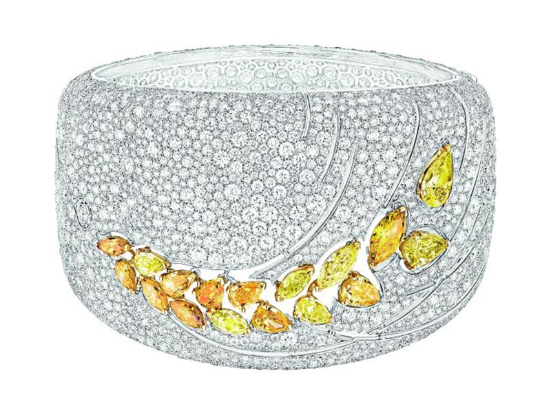 Chanel Impression de Blé bracelet mounted on white and yellow gold set with 3 fancy-cut intense/vivid yellow diamonds, 2639 brilliant-cut diamonds, 2 marquise-cut fancy intense/vivid yellow diamonds and 12 fancy-cut multicolored diamonds