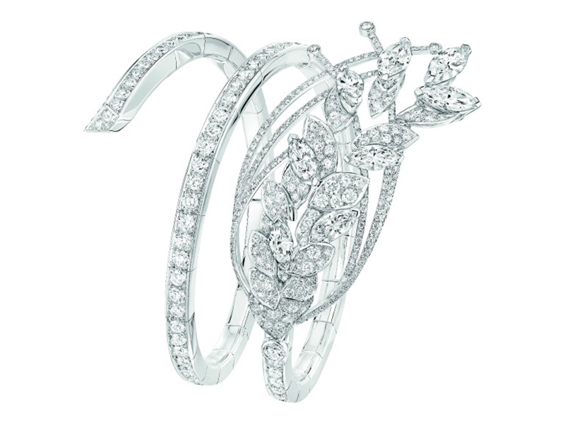 Chanel Légende de Blé bracelet mounted on white gold set with 8 marquise-cut diamonds and 474 brilliant-cut diamonds