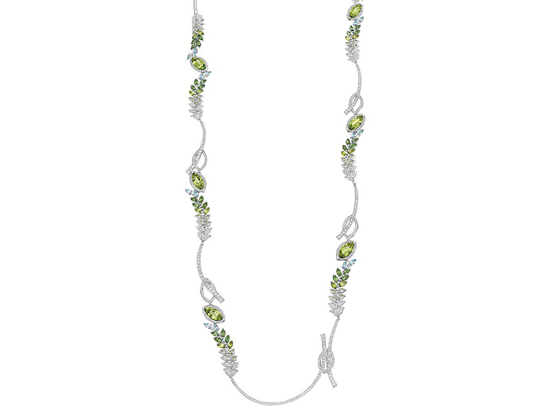 Chanel The Brin de Printemps necklace set on white gold has 20 marquise-cut peridots for a total weight of 18.3 carats, 14 pear-cut aquamarines for a total weight of 2.5 carats, 21 marquise-cut green tourmalines for a total weight of 5.1 carats, 7 pear-cut green tourmalines for a total weight of 1.4 carat and 795 brilliant-cut diamonds for a total weight of 9.8 carats.