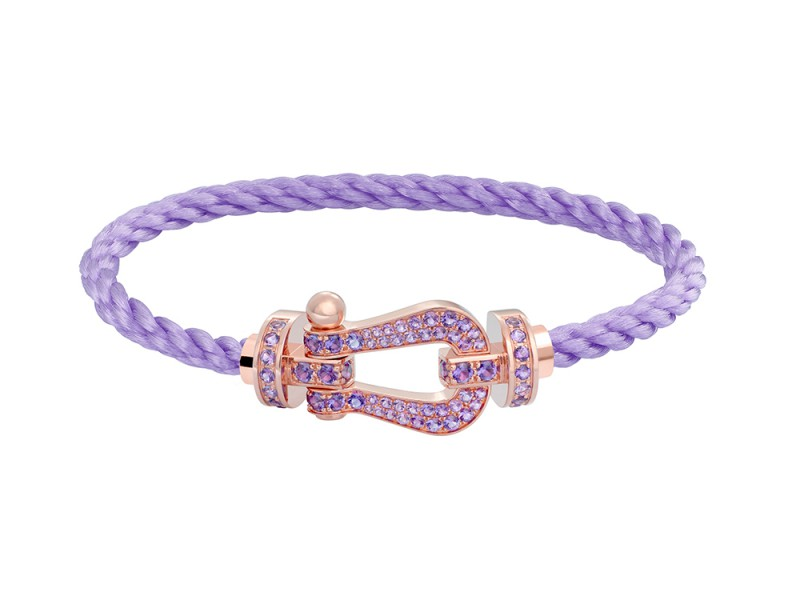 Fred Force 10 bracelet with pink gold and paved amethyst buckle and cable