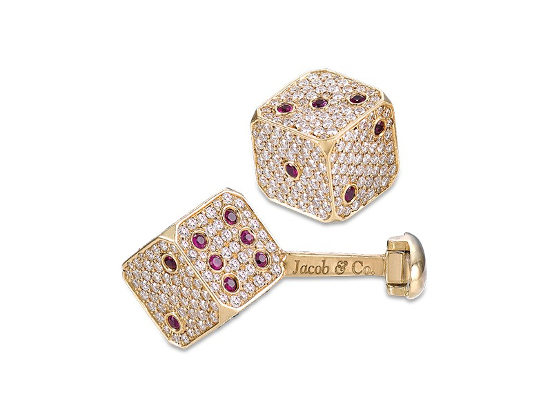 Jacob & Co Dice cufflinks mounted on yellow gold set with 623 natural ruby and brilliant cut diamonds totaling 5.58 carats