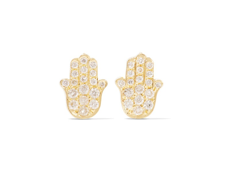 Jennifer Meyer Mini hamsa earrings mounted on gold with diamonds ~ 1'246 Euros