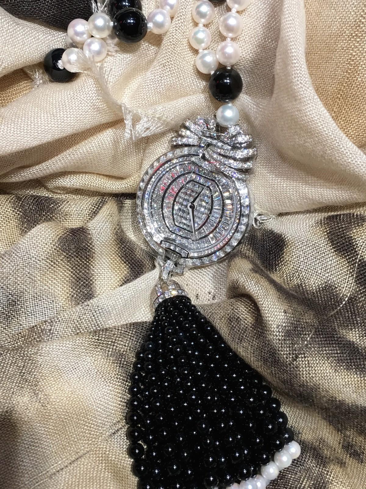 Roger Dubuis Velvet Ribbon necklace watch diamonds black white
