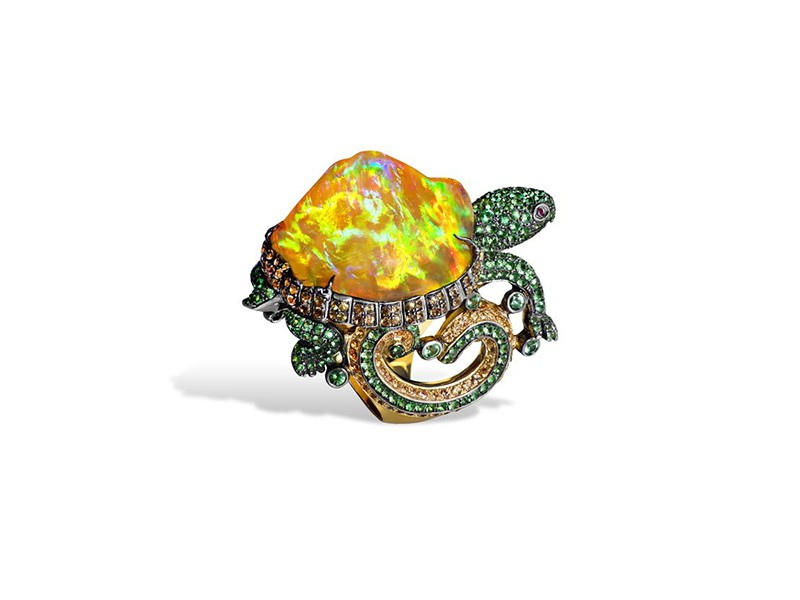 Lydia Courteille Turtle ring with orange mexican opal, orange sapphires and green garnets
