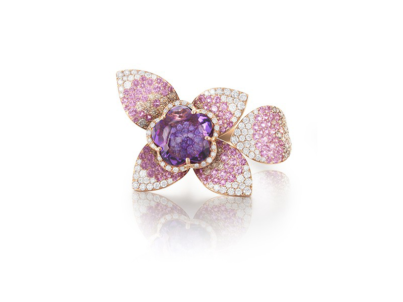 Pasquale Bruni From Giardini Segreti Haute Couture collection - Ring mounted on rose gold with amethyst, pink sapphire, white and champagne diamonds