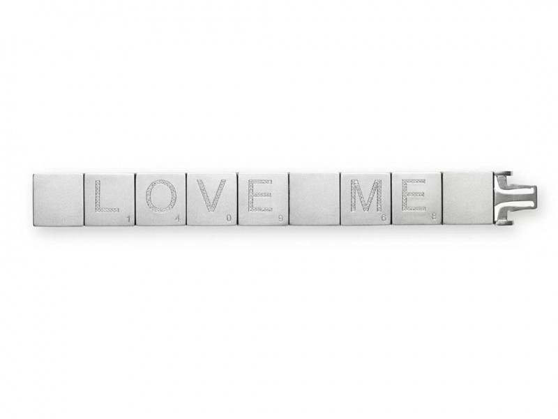 Suzanne Syz Bespoke titanium scrabble bracelet with diamonds