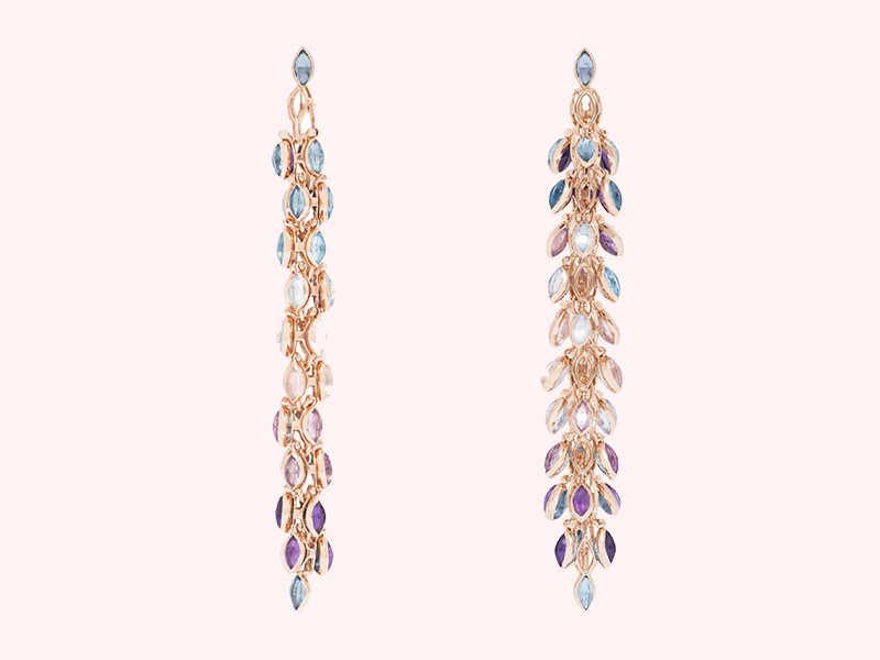Marie Mas Swinging earrings mounted on rose gold with topaz and amethyst