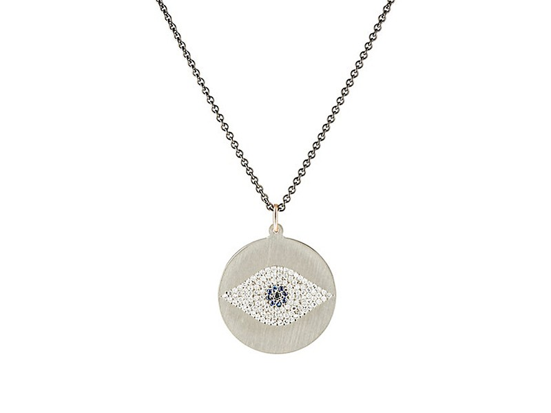 Ileana Makri Evil eye pendant necklace mounted on titanium with diamond and sapphire ~ USD$ 2'535