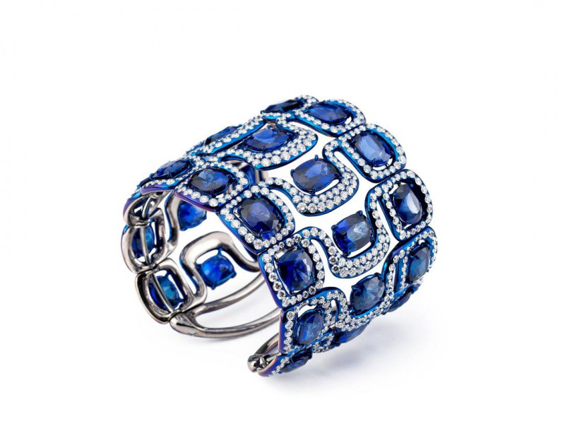Glenn Spiro Cuff mounted on titanium with diamond and sapphire