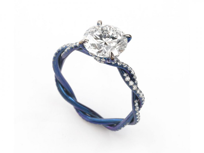 Glenn Spiro Solitaire engagement ring from I Do collection mounted on blued titanium with diamond