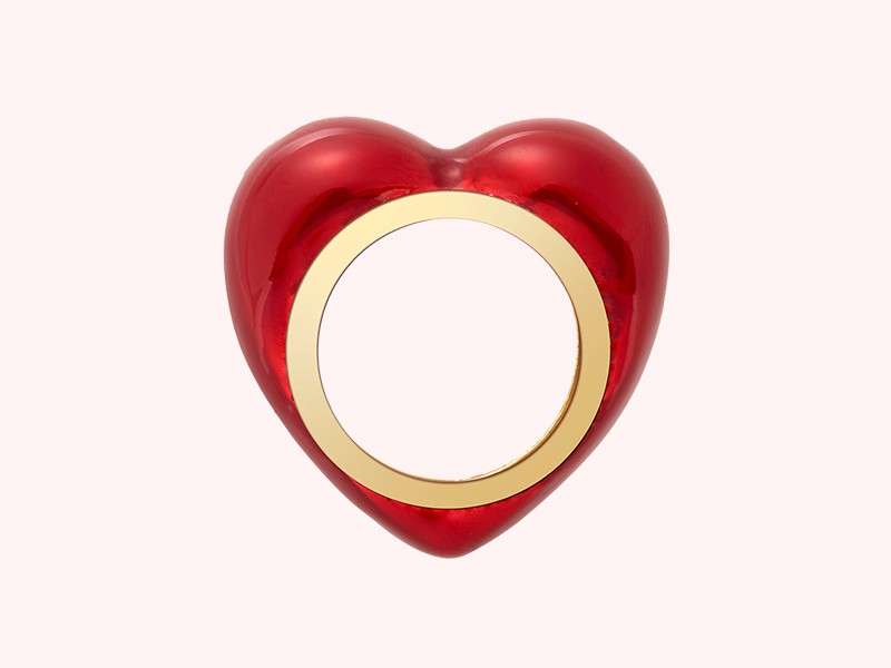 Alison Lou All my heart ring mounted on yellow gold with red enamel, ~ USD$ 2'500