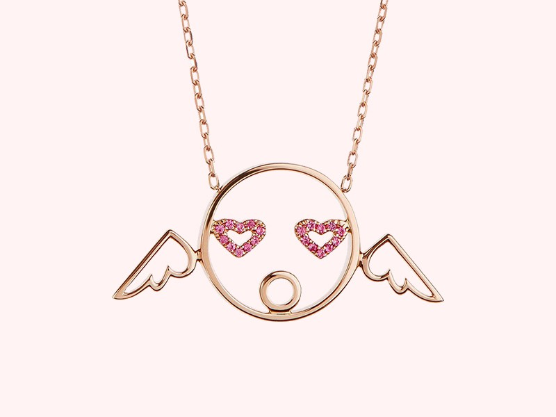 Ruifier Moyen cupid pendant mounted on rose gold with pink sapphire, ~ GBP£ 975
