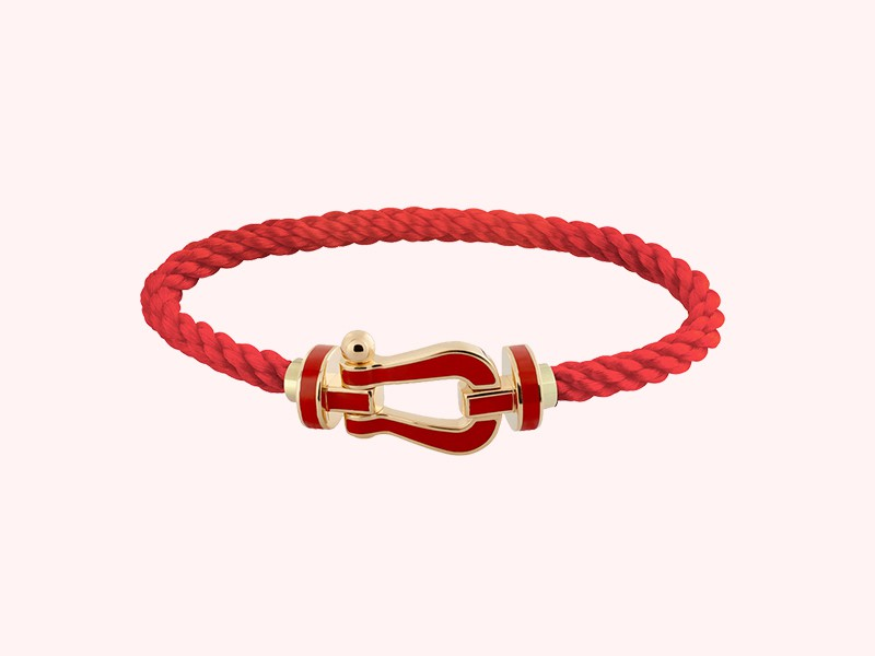 Fred Force 10 bracelet in yellow gold red lacquered, ~ 2'140 Euros