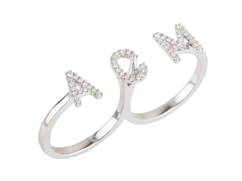 "Plukka ""Monogram"" diamond two finger ring mounted on white gold ~ USD$ 1'100"