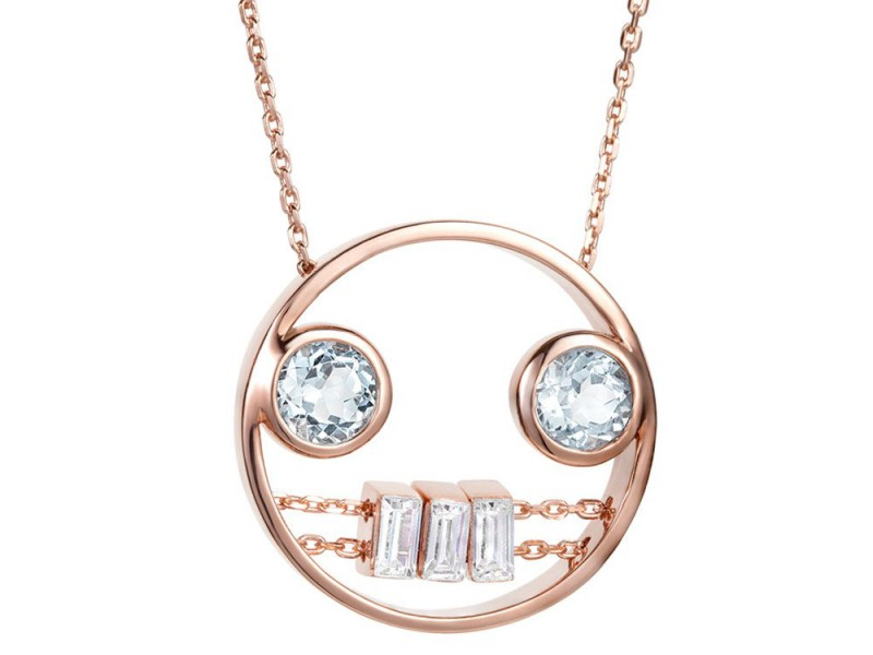 Ruifier Premiere rose carina necklace mounted on rose gold with aquamarines and topaz