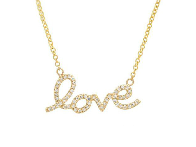 Sachi Script love necklace mounted on gold ~ USD$ 455