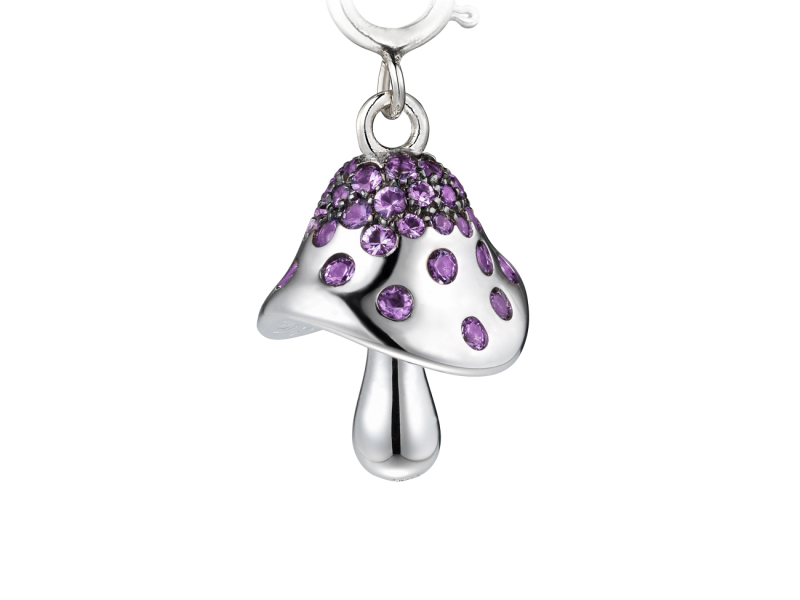 Shawish - Mushrooms charms mounted on white gold with amethysts