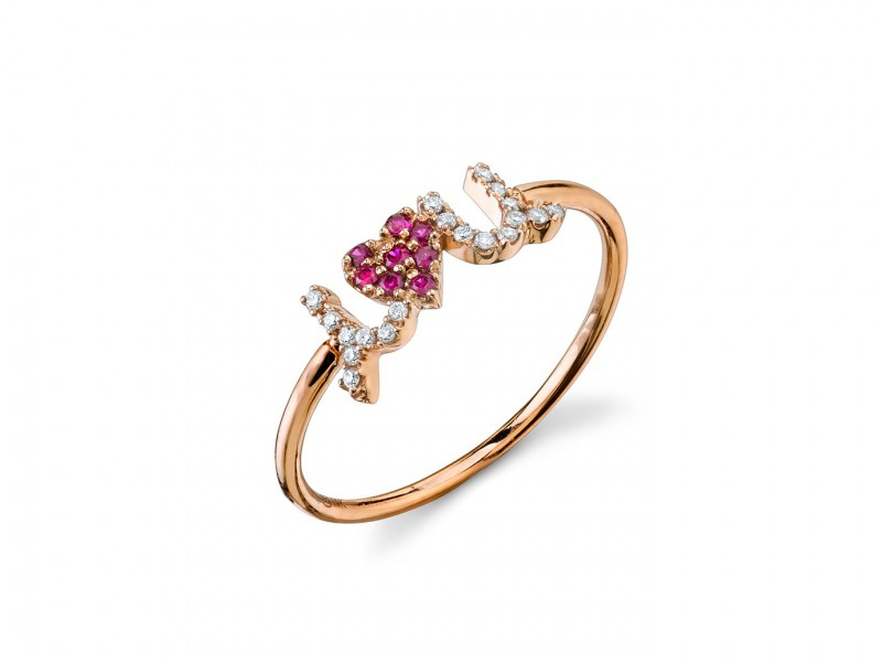 Sydney Evan I heart u ring mounted on rose gold with diamonds and rubies ~ CHF 740