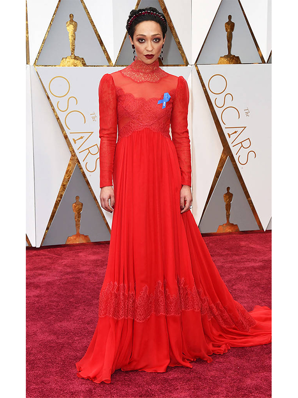 Irene Neuwirth Ruth Negga wore Irene Neuwirth featuring Gemfields. Oxidized 18k gold and Mozambique ruby tiara, earrings and ring