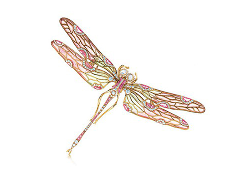 "Tiffany & Co ""Dragonfly"" brooch mounted on gold with diamonds and sapphires"