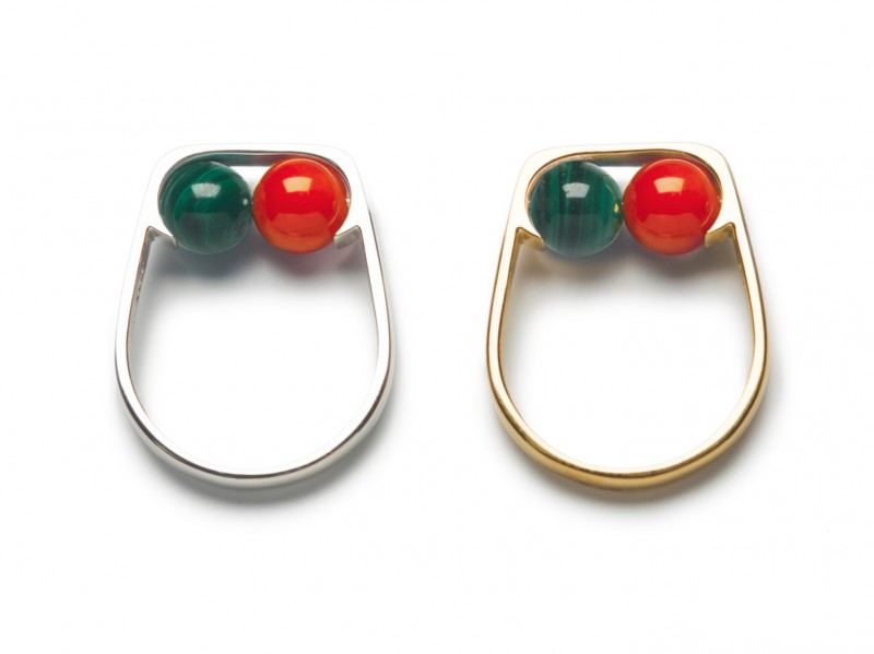 Vibe Harsloef Ring mounted on goldplated silver with malachite and coral, ~ 220 Euros