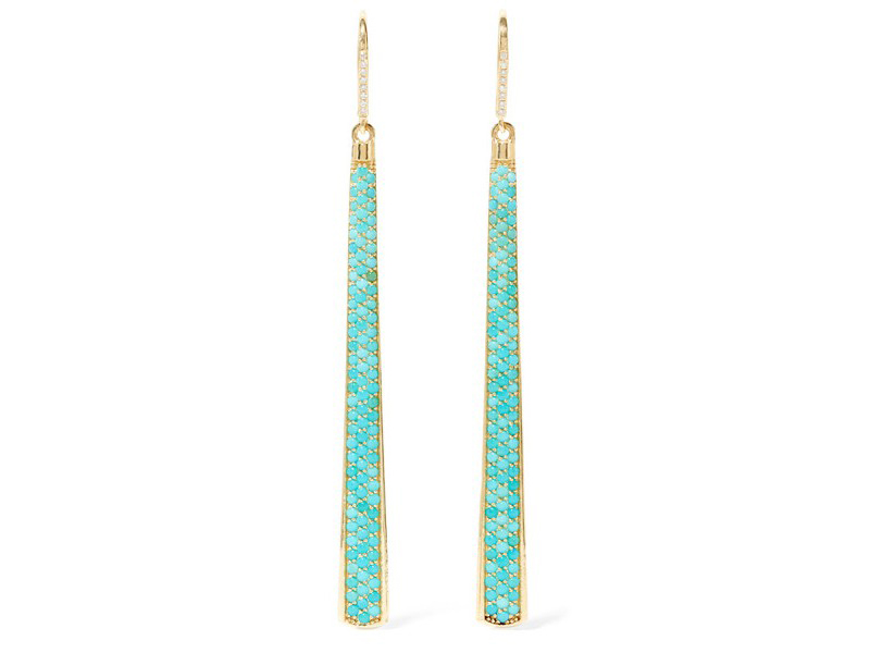 Jennifer Meyer Turquoise earrings mounted on gold with diamonds ~ 9'222 Euros