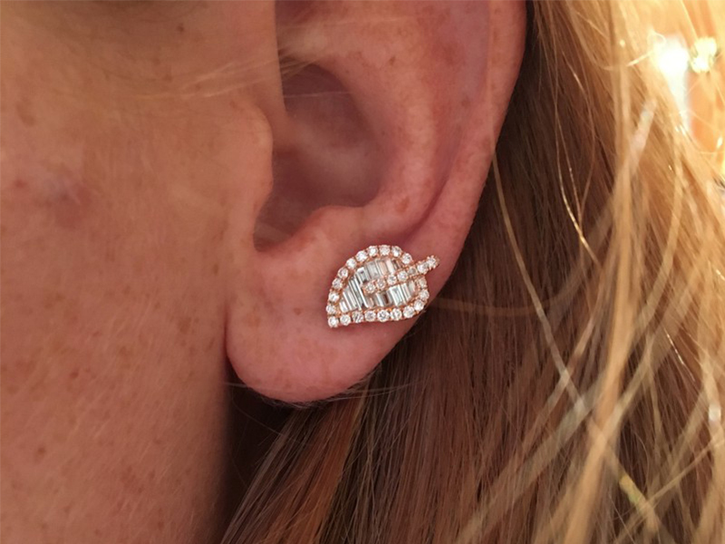 Anita Ko Medium leaf studs mounted on rose gold