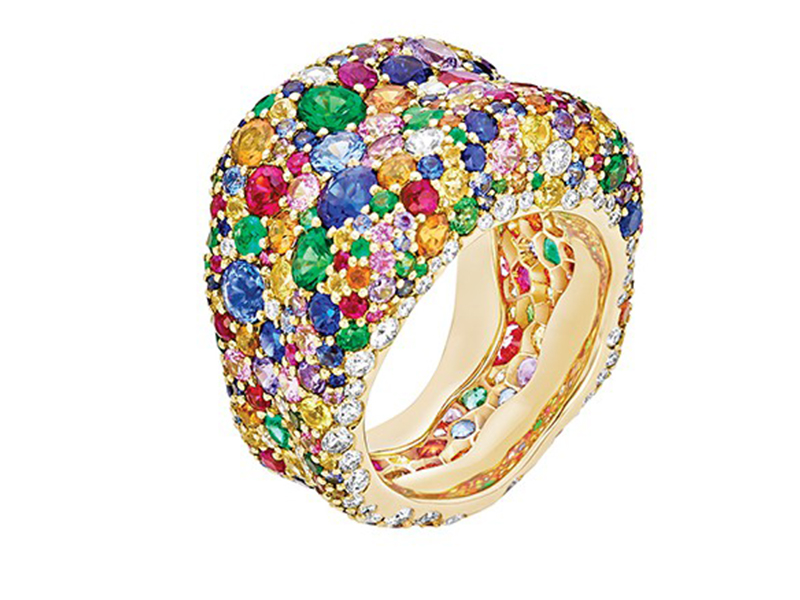 Fabergé Emotion Multi-colored Ring features over 300 gemstones including round white diamonds, rubies, tsavorites, emeralds, and orange, pink, purple, yellow and blue sapphires, set in 18 karat yellow gold